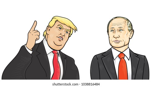 Donald Trump and Vladimir Putin. Vector Portrait Drawing Illustration.March 5, 2018