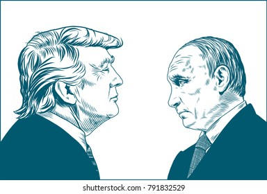 Donald Trump and Vladimir Putin. Vector Portrait Drawing Illustration. January 12, 2018