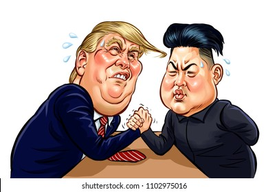 Donald Trump vs Kim Jong-Un engage in arm wrestling battle on table, Caricature vector design,June,2018