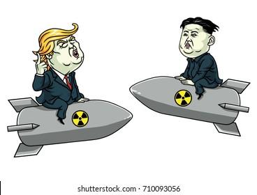 Donald Trump Vs Kim Jong-un on Nuclear Weapon Threat. Vector Cartoon Illustration. September 6, 2017