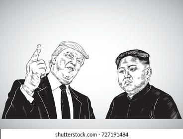 Donald Trump Vs Kim Jong-un. Vector Portrait Drawing Illustration. October 3, 2017