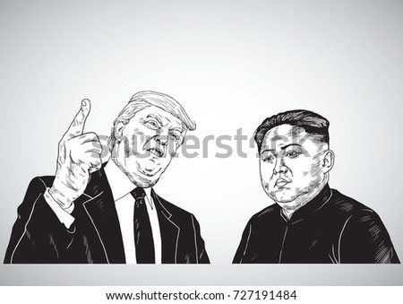 3574b993a Donald Trump Vs Kim Jong-un. Vector Portrait Drawing Illustration. October  3