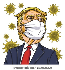 Donald Trump Wearing Corona Virus Mask Cartoon Vector Drawing. March 12 , 2020