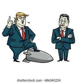Donald Trump and Xi Jinping Cartoon Vector Illustration. July 29, 2017