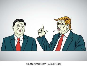 Donald Trump and Xi Jinping Cartoon Headshots Vector Illustration. July 30, 2017