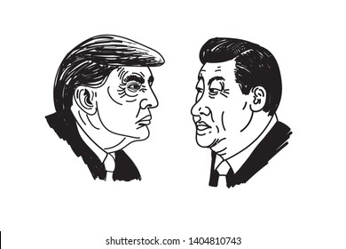 donald trump xi jinping illustration Black and white on white background cartoon