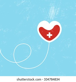 Donate blood bag on blue background. Vector illustration
