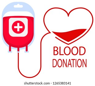 Donate blood concept with blood bag and heart character. Blood donation vector illustration. World blood donor day - June 14. - Vector