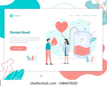 Donate blood concept. Web banner design template for hospital or blood donation center. Flat vector illustration.