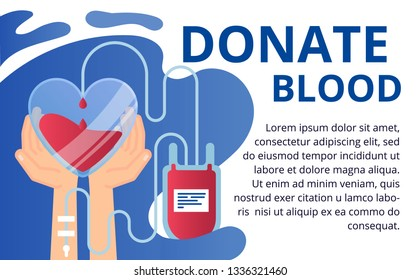 Donate blood and health care concept in flat style. Vector illustration for web banners, brochure cover design and flyer.