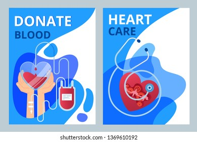 Donate blood and heart care illustrations  for marketing material, ads, annual report, business presentation. Brochure cover design and flyer layout templates set for medicine, health care, therapy.