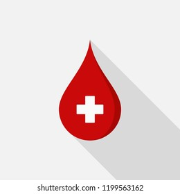 Donate blood icon with long shadow on gray background, flat design style