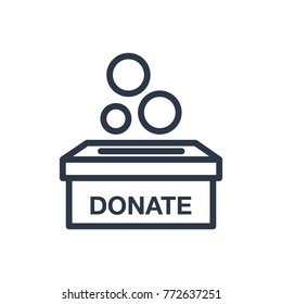 Donate box icon. Isolated charity and donate box icon line style. Premium quality vector symbol drawing concept for your logo web mobile app UI design.
