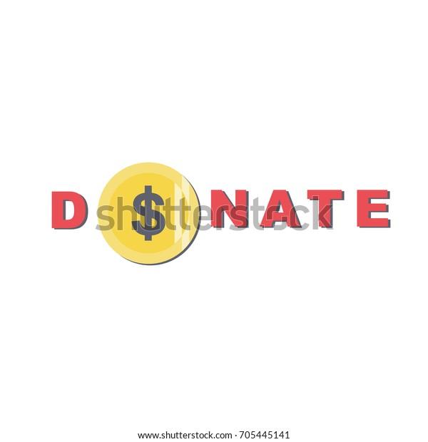 Donate Button Coin Dollar Sign Help Stock Vector (Royalty