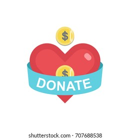 Donate button with coin, heart, ribbon, dollar. Help red and blue icon donation. Gift charity. Isolated support design sign. Contribute, contribution, give money, giving symbol. Vector illustration