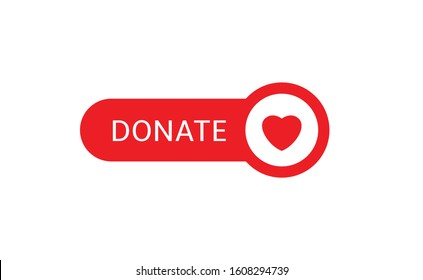 Donate button icon. Red button with red heart for your website, Philanthropy, charity and volunteering symbol Web design element