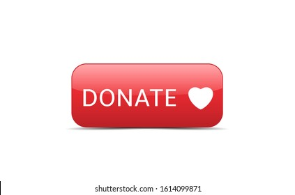 Donate button icon. Red button with white heart symbol