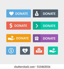Donate button vector set in a flat style. Web elements give to charity isolated from the background. Buttons support or help with money for a site or app.