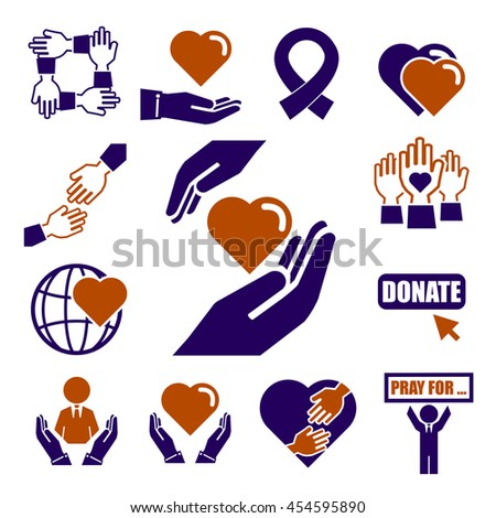 donate charity icon set stock vector royalty free 454595890