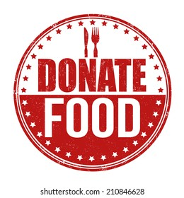 Donate food grunge rubber stamp on white background, vector illustration