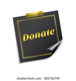 Donate Golden Sticky Notes Vector Icon Design