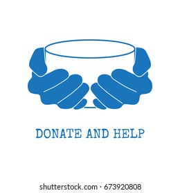 Donate and help logo. Hungry people holding empty bowl begging for food and help.