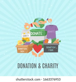 Donate and help symbols, charity organization, heart flat icons set of food and clothes donation cartoon vector illustration. Charity and donation, volunteering in world poster.