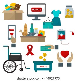 Donate help symbols charity organization heart flat icons set of food and clothes donation abstract isolated vector illustration