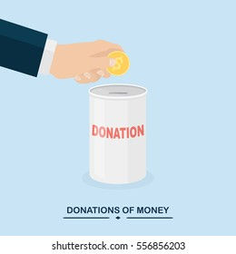 Donate money to charity concept. Donation jar, box isolated on background. Human hand hold dollar bill, gold coin, cash. Business concept. Vector illustration. Flat cartoon style