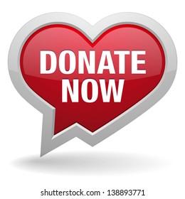 Donate now heart speech bubble