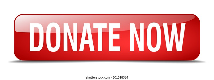 donate now red square 3d realistic isolated web button