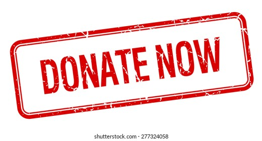 donate now red square grungy vintage isolated stamp