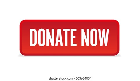 Donate now three-dimensional square button isolated on white background