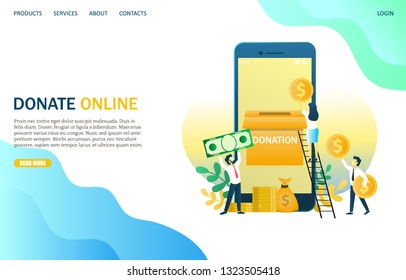 Donate online vector website template, web page and landing page design for website and mobile site development. Group of donors putting money in smartphone donation box. Charity fundraising concept.