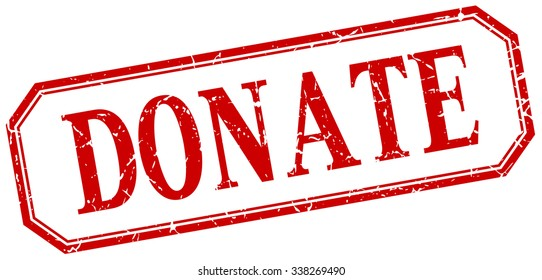 donate square red grunge vintage isolated label