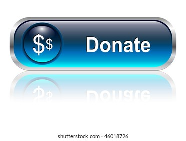 Donate, support button, icon blue glossy with shadow, vector illustration