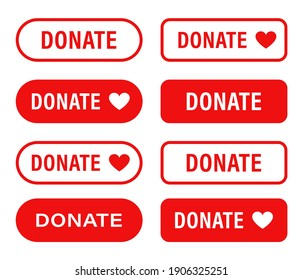 Donate web button. Set red buttons with heart. Symbol of financial aid isolated on white background. Vector illustration.