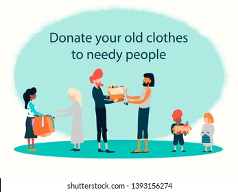 Donating old clothes for needy peoples. Charity and donating. Mindful living.