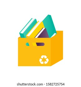 Donation box with books. Charity recycle gift. Isolated paper box with used book. Vector Illustration
