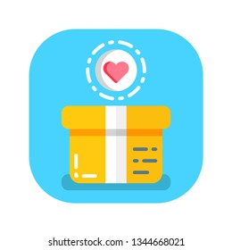 Donation box flat color icon. Charity concept. Help poor people. Sign for web page, mobile app, banner, social media. Pictogram UI/UX user interface. Vector clipart.