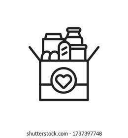 Donation box of food line black icon. Food Bank simple concept. Charity illustration. Sign for web page, mobile app, banner. UI UX user interface. Vector isolated object. Editable stroke.