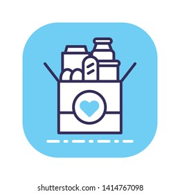 Donation box of food line color icon. Food Bank simple concept. Charity illustration. Sign for web page, mobile app, banner. Button UI/UX user interface. Vector isolated object. Editable stroke.