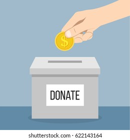 Donation Box with hand and money flat design