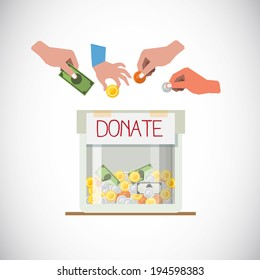 Donation box with hand - vector illustration