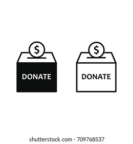 Donation box icon set. Vector isolated simple donate illustration.