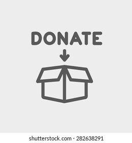 Donation box icon thin line for web and mobile, modern minimalistic flat design. Vector dark grey icon on light grey background.