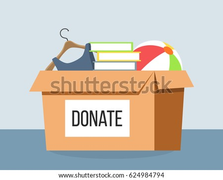 donation box refugees flat design stock vector royalty free