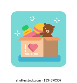 Donation box of toys flat color icon. Charity for children concept. Help poor kid. Sign for web page, mobile app, banner, social media. Pictogram UI/UX user interface. Vector clipart.