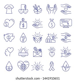 Donation and charity icons line big set. Money and blood, food donation. Editable stroke. Vector illustration