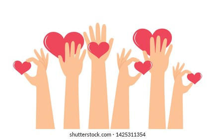 Donation, charity for people or the world, sign hand holding heart concept.